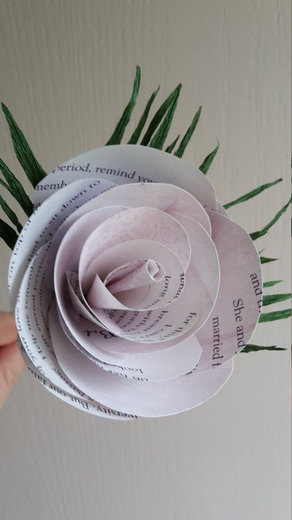Paper Flower True Love Story Book Pages Rose Table by moniaflowers