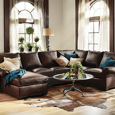 "Brentwood 124"" Three Piece Leather Sectional In Matador Walnut"