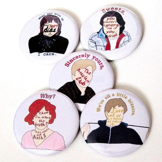 Breakfast Club Buttons 80s Pins Movies Pinback Buttons Magnet Button Sets The Brat Pack Classic Movie Buttons