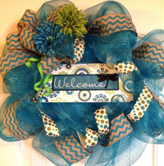 Spring/Summer Welcome Wreath - Bright Blue/Green Deco Mesh. $50.00, via Etsy.