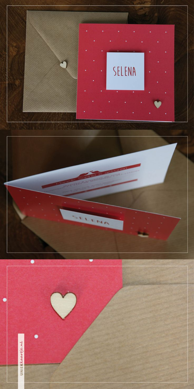 uniekkaartje.nl | geboortekaartje | koraal rood | nu met gratis écht houten hartje | kraft karton envelop | 3D element | zelf samenstellen te stellen | uniek | origineel | meisje | uniekkaartje.nl