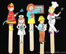 Free community workers to download, for coloring pages, paper dolls, stick puppets, etc.  12 total.  From First Palette.