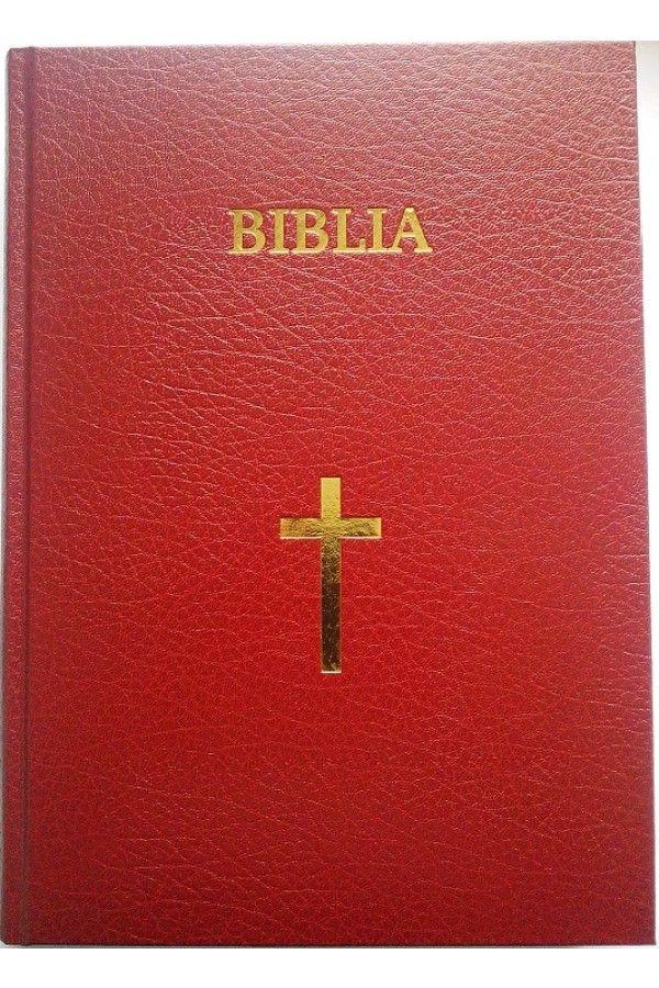 Biblia cu scris foarte mare, marime foarte mare, format A4, coperta tare, grena, cu cruce [SI 093 CT]