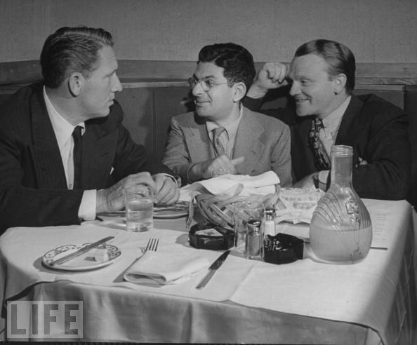 Columnist Sidney Skolsky (C) eating dinner with actors Spencer Tracy (L) and James Cagney (R) by Jeff Houck, via Flickr