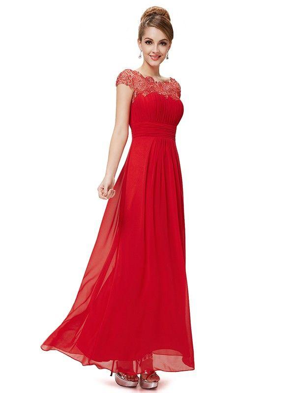 A-Line/Princess Bateau Chiffon Short Sleeves Pleats Ankle-Length Dresses