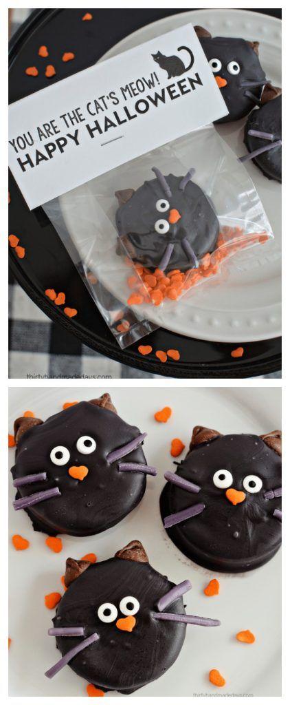 Halloween Ideas| Halloween Cat Oreo Cookies