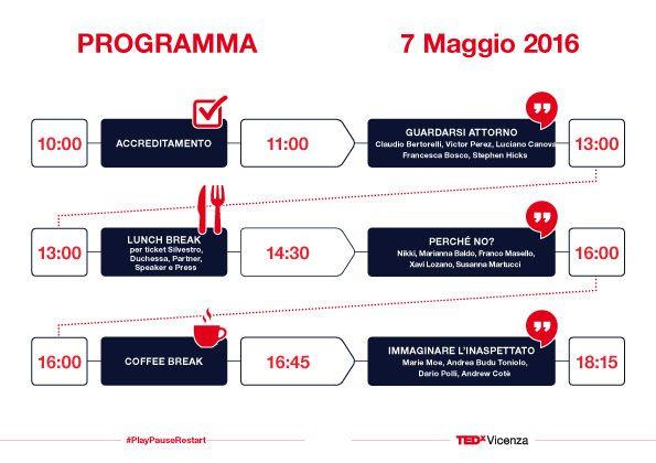 Ci siamo! Line-up degli speaker è pronta per salire sul palco del #TEDxVicenza. Ecco il programma dell'evento #PlayPauseRestart e alcune info utili.