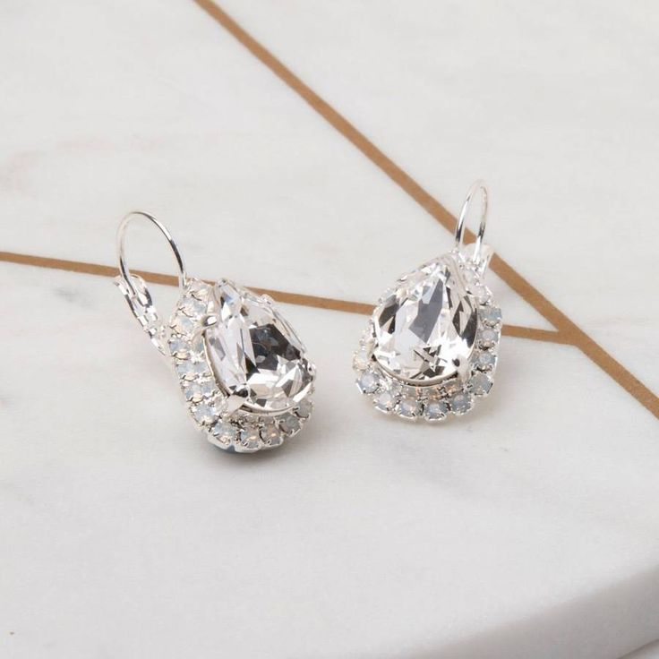 Iscah and Mimi Pear Drop Bridal Earrings Made With Swarovski Crystals