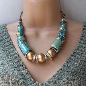 Greek Ceramic Chunky Necklace Aqua and Gold