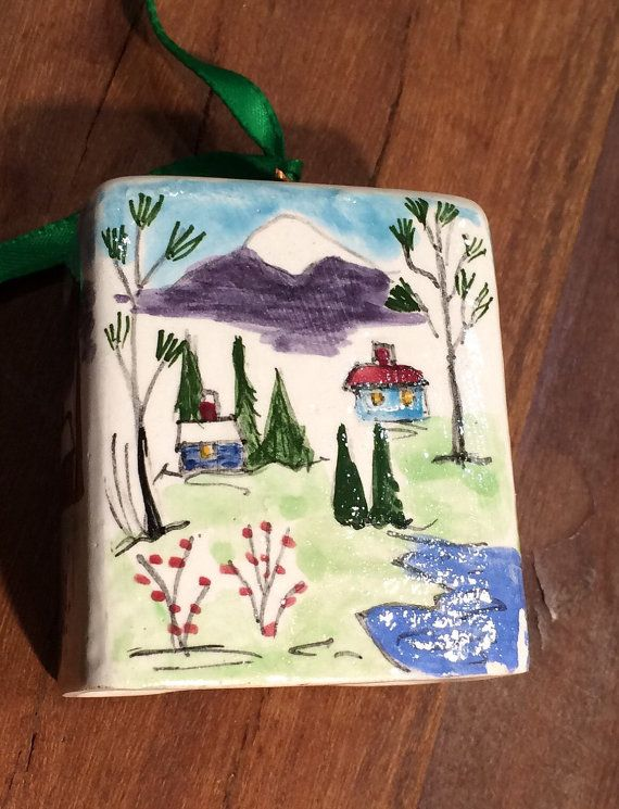 Bell ceramic painted mountain scene for chalet or by UrbanChalet