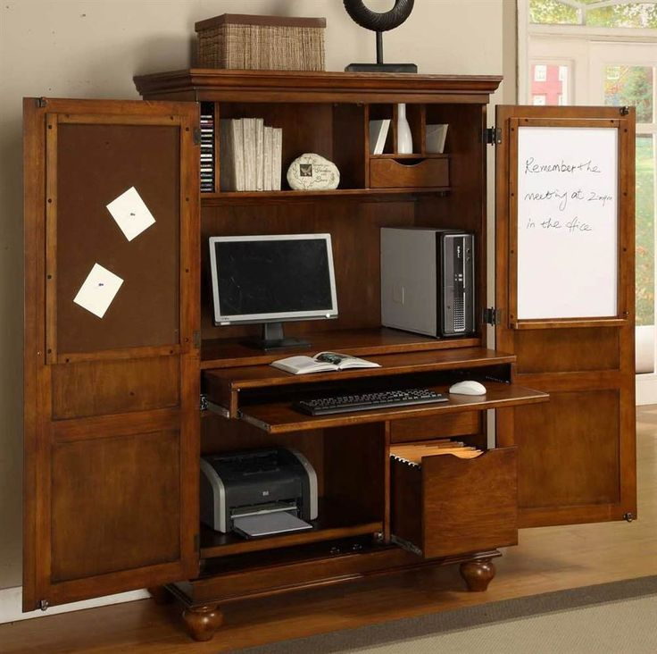 Sunrise Home Furnishings Computer Armoire w Pull-Out Drawer in Cherry Finish | ShopLadder