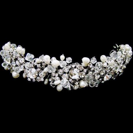 Pearl and swarovski crystal headband