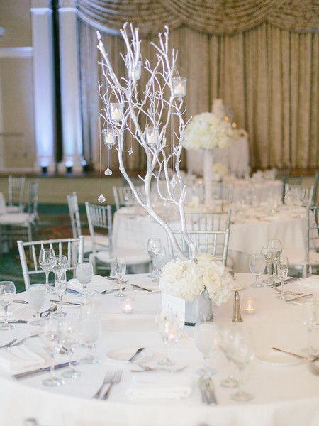 Esther Louise Photography; Flowers by Fudgie; Silver Manzanita wedding centerpiece; Vinoy St. Petersburg
