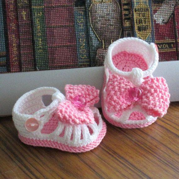 Crochet baby sandals,Crochet girls sandals,Baby sandals,Crochet white sandals,Crochet bow sandals,Crochet white and pink sandals
