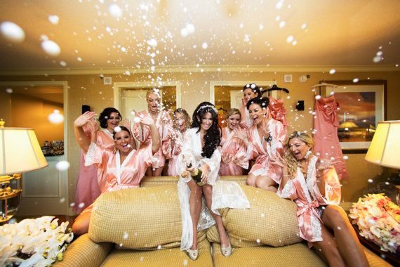 Omg i would kill to have a picture like this either at the wedding or bachelorette party! BRIDESMAID ROBES  CORAL  laceHandmade to Order by MaySilk on Etsy