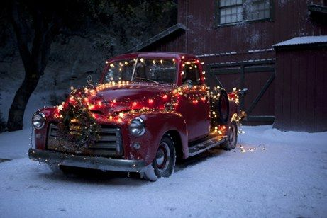 """Vintage Truck with Christmas Lights / I Love this truck.  