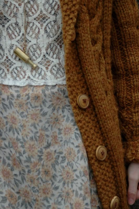 """Dress:  thrifted ($4) Sweater: Vintage thrift ($6) Lace vest: Mom's vintage Tights: AA super opaque """"Truffle"""" Necklace: Essex Shipbuilding M..."""