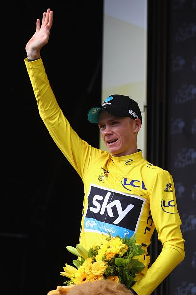 #TDF2016 Chris Froome of Great Britain and Team Sky celebrates retaining the yellow jersey after the 17km Individual Time Trial stage eighteen of Le Tour de...