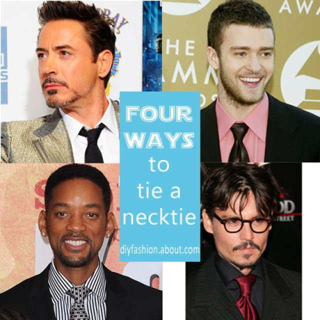 Learn how to tie a necktie in four different ways with these easy, complete tutorials and celebrity photo examples.