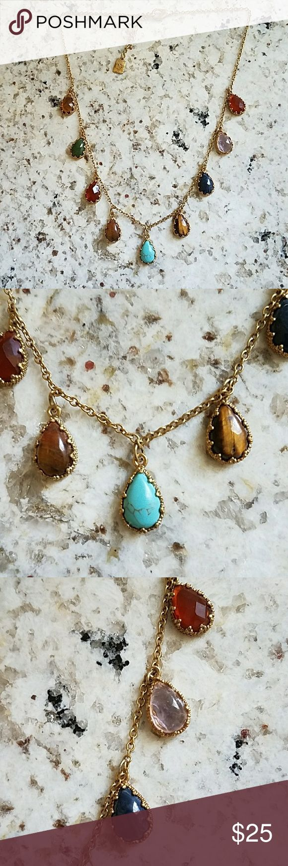 RALPH LAUREN semi-precious stone necklace Gold plated necklace with Turquoise, Lapis, Tigers Eye, Amethyst, Yellow Topaz, and other stones valued for their positive energy and healing properties. Never worn. Kept in jewelry box to preserve integrity of stones. Ralph Lauren RRL Jewelry Necklaces
