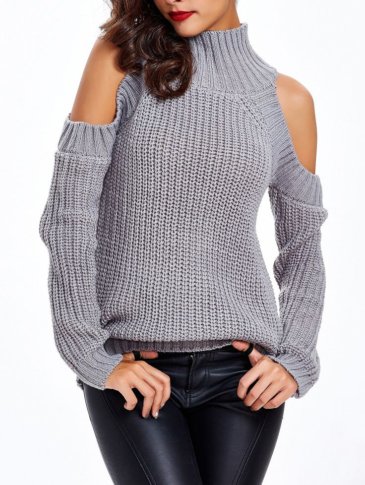 Stretchy Textured Cold Shoulder Sweater