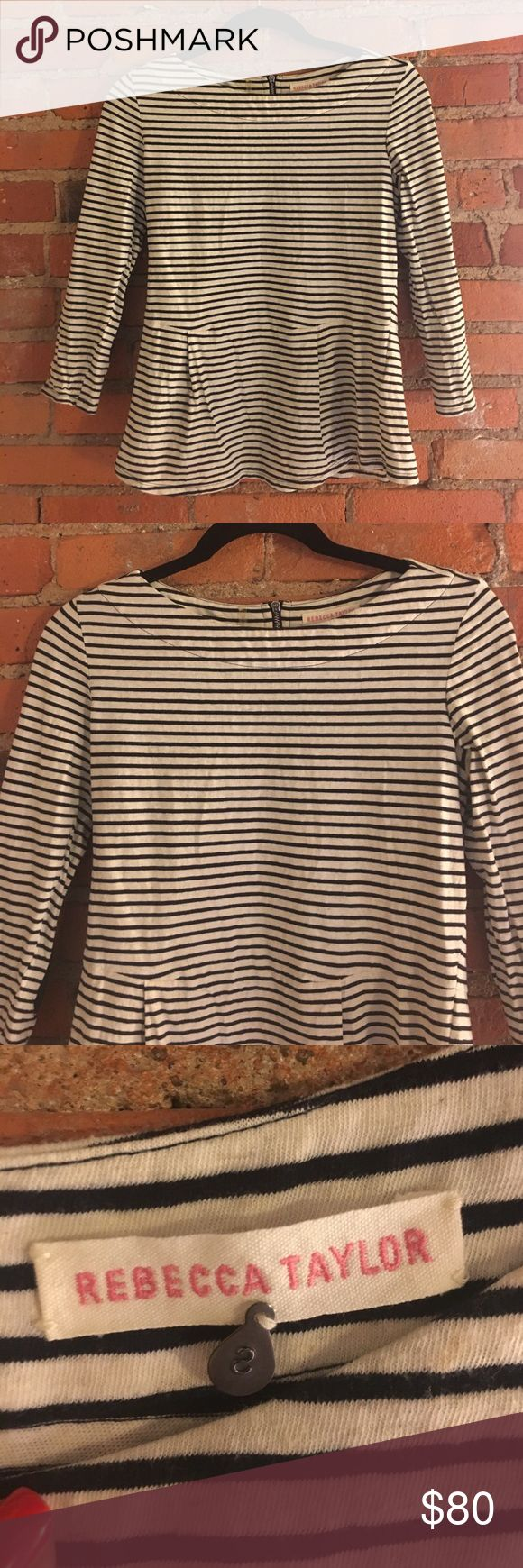 Rebecca Taylor blue striped peplum shirt small Excellent condition. Navy and cream striped with navy elbow patches. Size small. Rebecca Taylor Tops