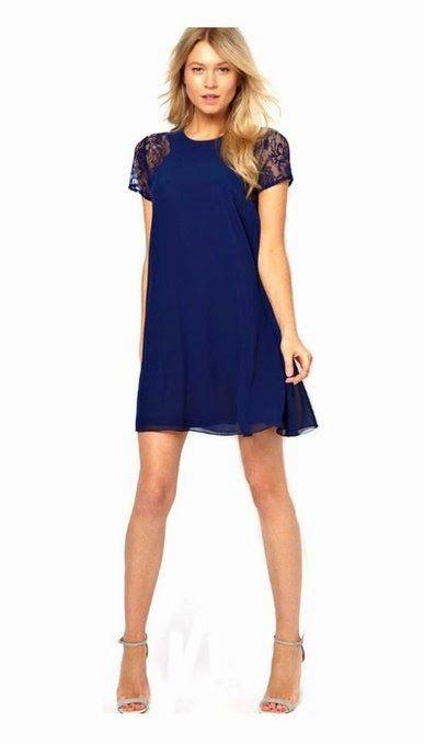 shift dress: Navy Blue Shift Dress