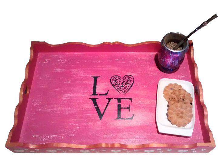 bandeja para desayuno love - pintada a mano - Vesónica