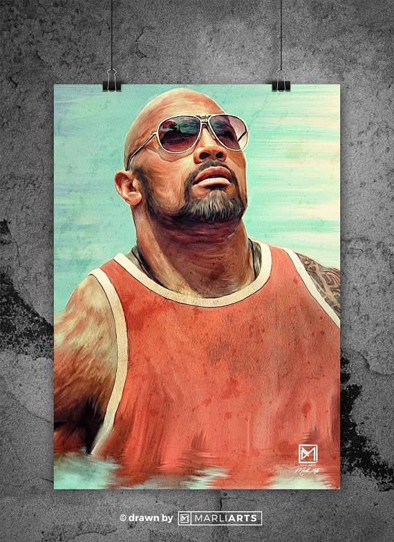 Dwayne Johnson The Rock Wrestler Artwork Handmade