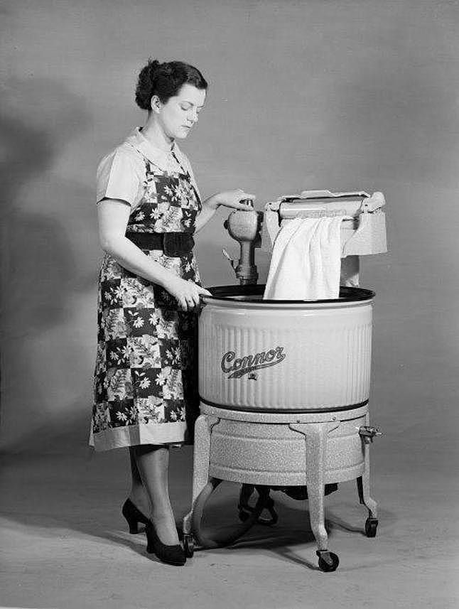 days of hard slog doing the washing in a wringer washing machines in the 1950s ~ Old Wellington Region 21 Jan 2015