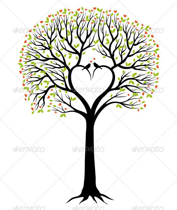Love Tree With Heart And Birds, Vector - Flowers & Plants ...