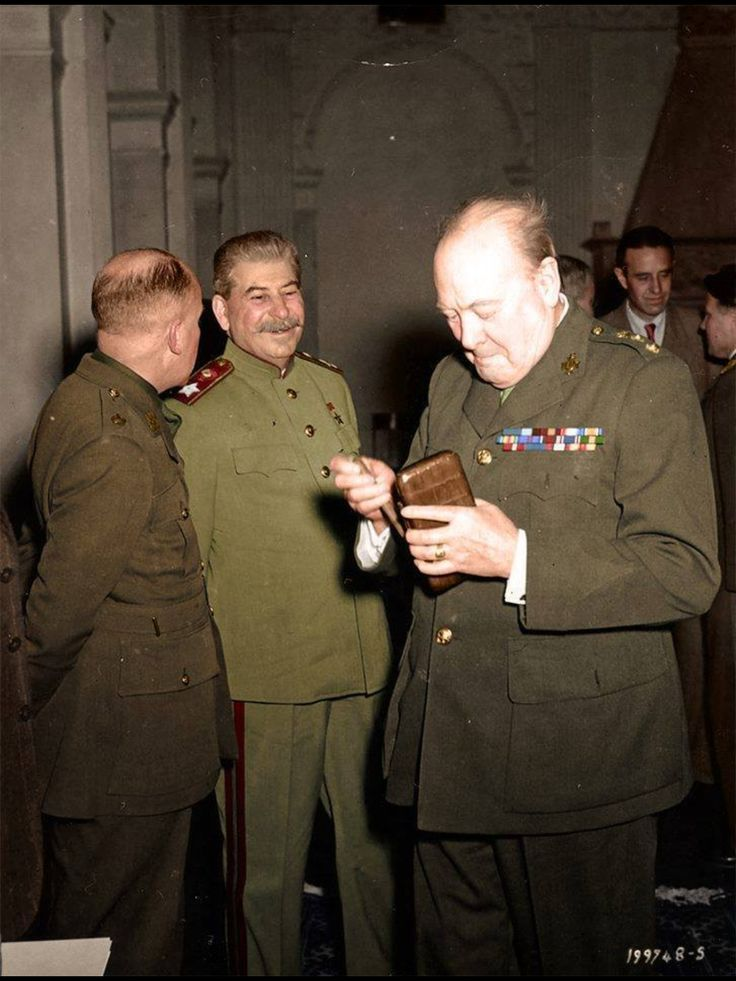 """This is not """"kind of historic"""" this right here is a crucial part of our history: Stalin and Churchill at the Jalta Conference. The reason for my post on this board is that this picture shows some of the main characters of the conference from a somewhat off-guard and private perspective."""