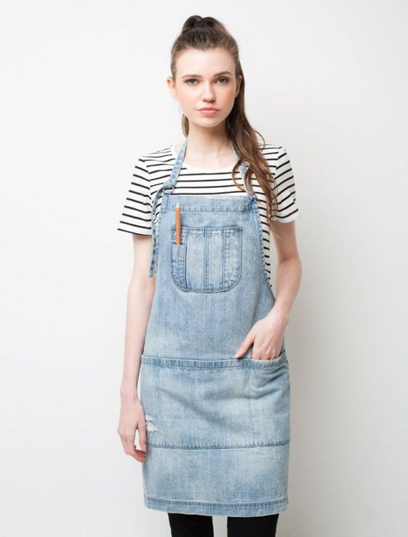 Cargo Crew Boston Distressed Denim Bib Apron