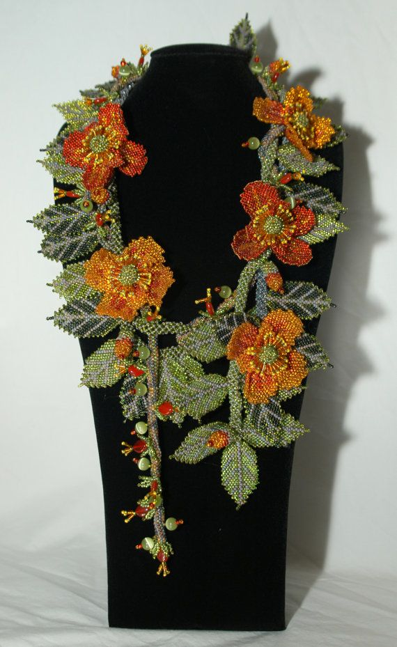 La Primavera Bead weaving Necklace Wearable Art by Gay Huntley