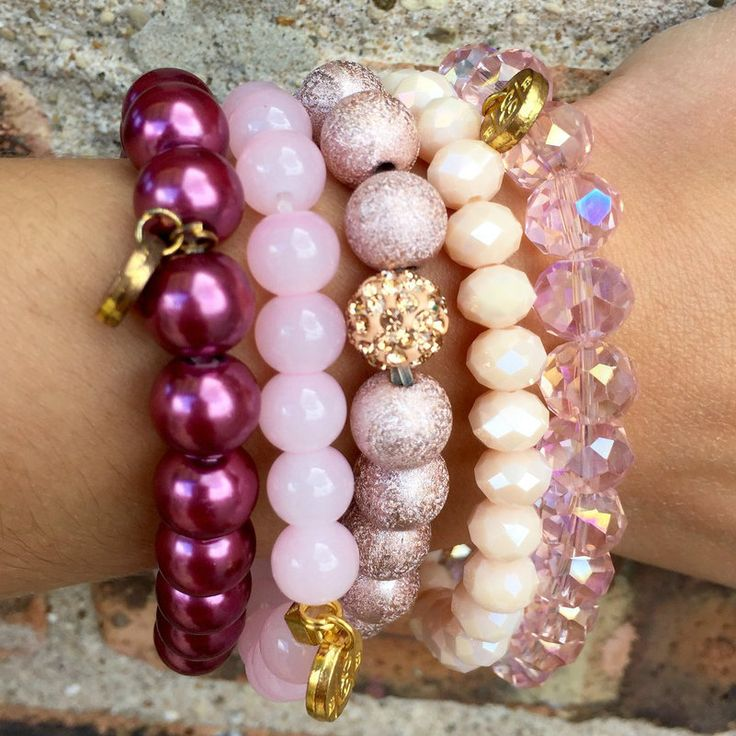 Erimish Stackable Bracelet Set-Pink - Edie Boutique
