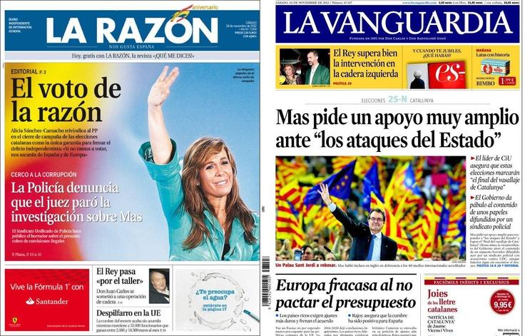 Portades La Vanguardia i La Razón en jornada de reflexió.  Programes electorals #25N http://elnostreraco.com/blog/programes-electorals-eleccions-catalanes-2012/