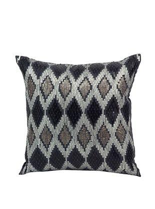 Joseph Abboud Diamond Sequins Ikat Pillow, Charcoal, 12