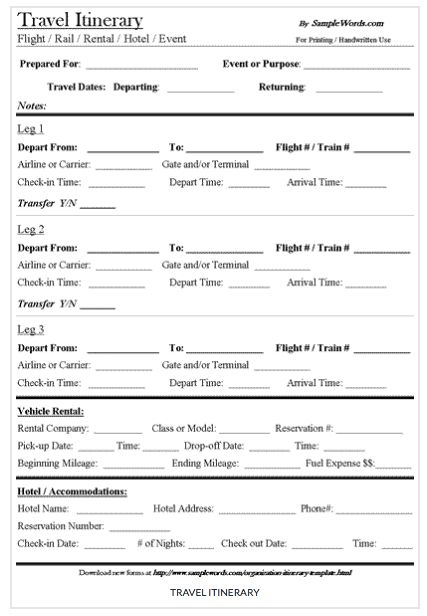 9 Useful Travel Itinerary Templates That Are 100 FREE Projects to