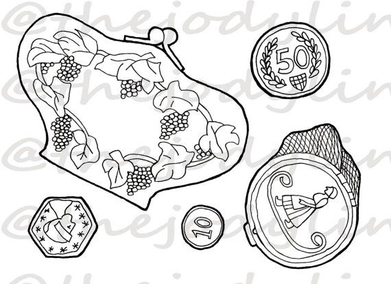 Museum Drawer: Coin Purses 3. Instant Download Digital Stamp Bundle. Line Art Illustration for Cards and Crafts
