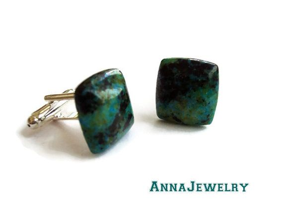 Chrysocolla Navy Cufflinks Pair by annajewelry64 on Etsy