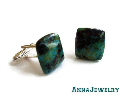 Chrysocolla Navy Cufflinks Pair by annajewelry64 on Etsy