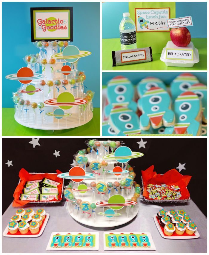 Space Themed teacher appreciation party with Lots of Fabulos Ideas via Kara's Party Ideas! full of decorating ideas, dessert, cake, cupcakes...