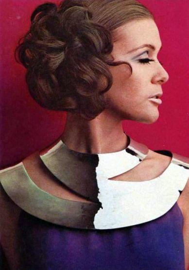 Huge metallic choker necklace, L'officiel magazine 1968
