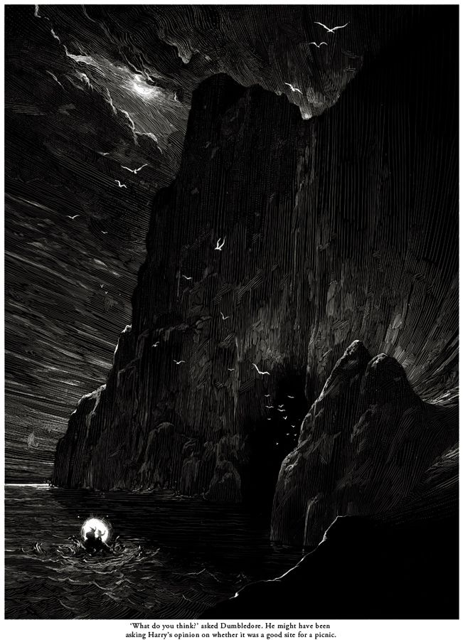Nicolas Delort's illustration of Harry and Dumbledore's hunt for the horcrux continues