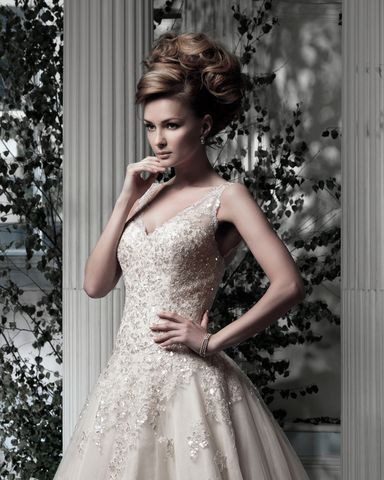 Ian Stuart Everdina is a glamorous yet romantic ballgown that has a feminine soft tulle overlay decorated in hand beaded lace.  This gown came from a bride and is brand new with tags!. Ian Stuart Everdina is Honey and a size 6.