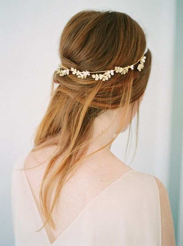 half up half down wedding bridal hairstyle with headpiece