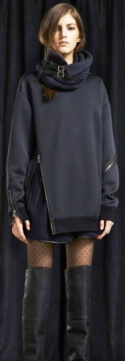 I think that the playful zipper detail is so cute, but subtle. Also the dark colour scheme is so chic, and the layers are always a key trend for fall.