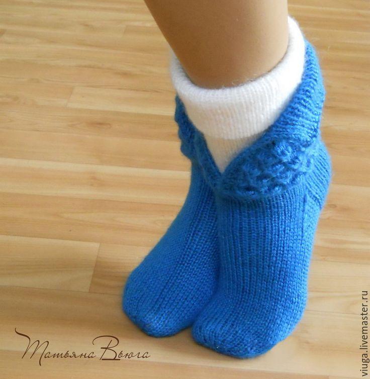 Купить Что шепчет ветер. Носки вязаные, шерстяные, домашняя обувь. - носки вязаные