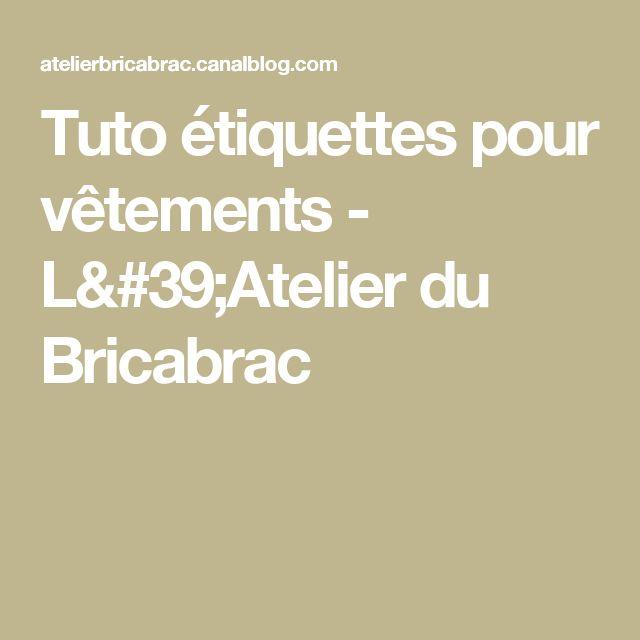 Tuto étiquettes pour vêtements - L'Atelier du Bricabrac