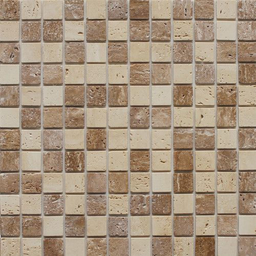 Found it at Wayfair - Natural Stone Peel & Stick Mosaic in Dark Brown & Beige